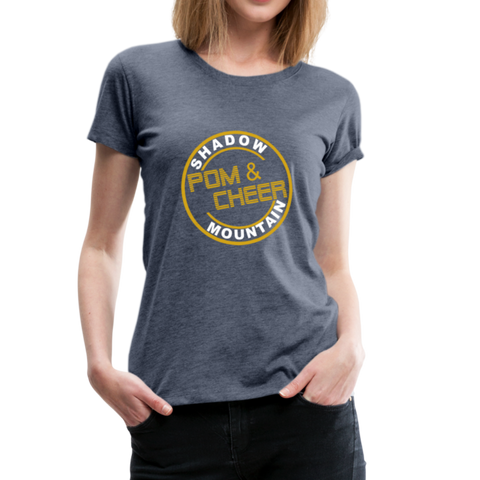 "SMHS Pom & Cheer Women's ""Circle Logo"" Scoop Neck T-shirt - heather blue"
