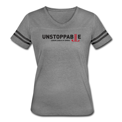 "JL Topeka ""Unstoppable"" Women's Vintage Sport T-Shirt - heather gray/charcoal"