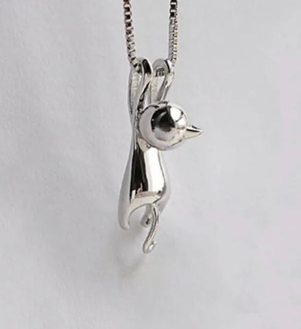 Silver Yoga Cat Necklace