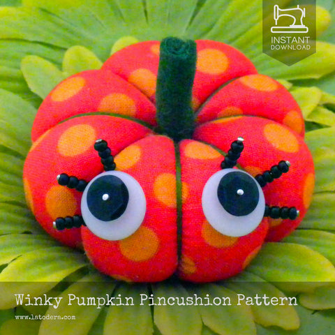 Winky Pumpkin Fabric Pincushion Pattern- Instant Download - La Todera