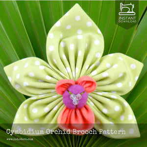 DIY Fabric Flower Cymbidium Orchid Brooch Tutorial - PDF Sewing Pattern - La Todera