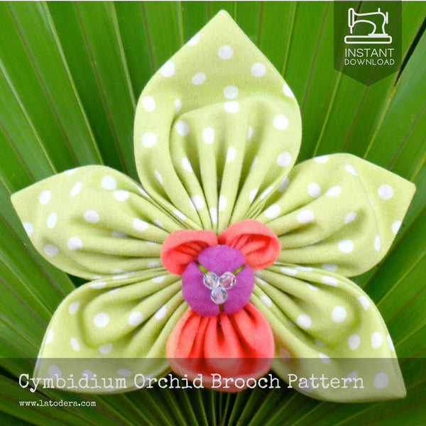 Cymbidium Orchid Brooch- Instant Download