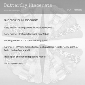 DIY Butterfly Placemats Tutorial - PDF Sewing Pattern - La Todera