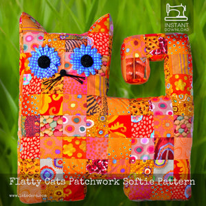 DIY Mama and Baby Patchwork Cat Pillows Tutorial - PDF Sewing Pattern - La Todera