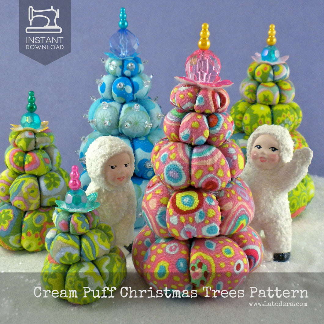 DIY Mini Fabric Christmas Trees Pincushion Tutorial - PDF Sewing Pattern - La Todera