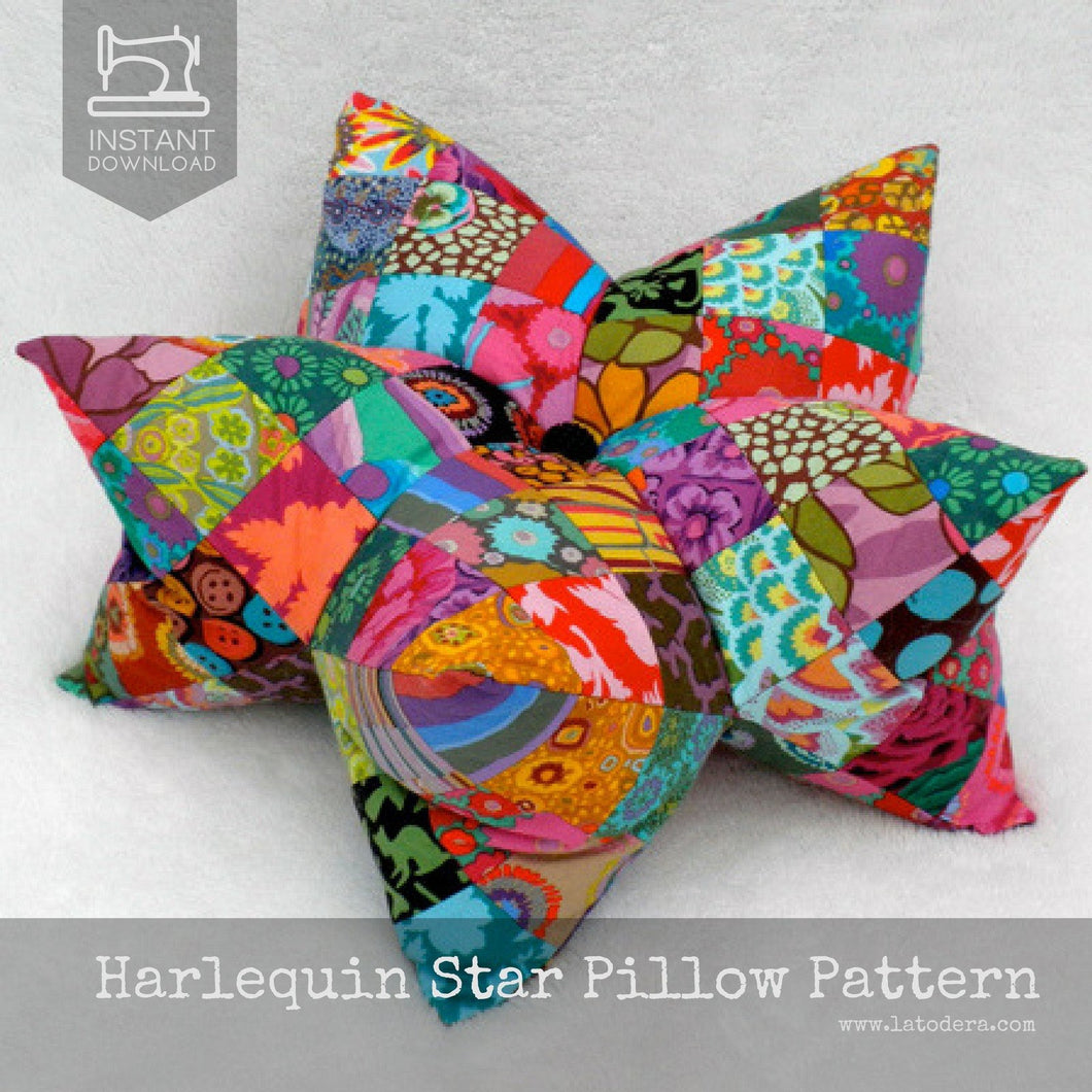 Harlequin Star Pillow and Pincushion pattern by La Todera, 3D star pillow