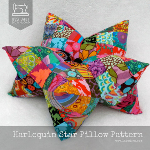 Harlequin Star Pillow (and Pincushion) Pattern- Instant Download