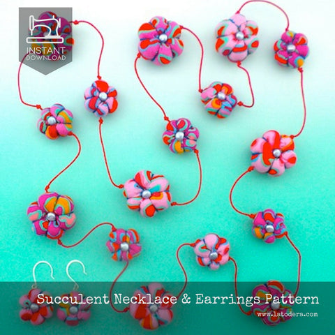 Fabric Succulent Necklace Set Pattern- Instant Download