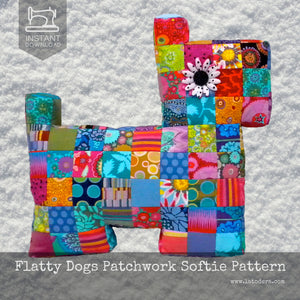 Mama and Baby Patchwork Flatty Dogs Pattern- Instant Download - La Todera