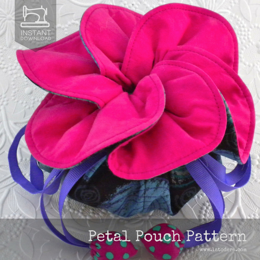 Petal Fabric Drawstring Pouch Pattern- Instant Download - La Todera