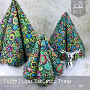 DIY Fabric Puffy Tabletop Christmas Trees Tutorial - PDF Sewing Pattern - La Todera
