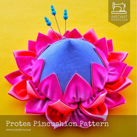 Protea Fabric Flower Pincushion Pattern- Instant Download - La Todera