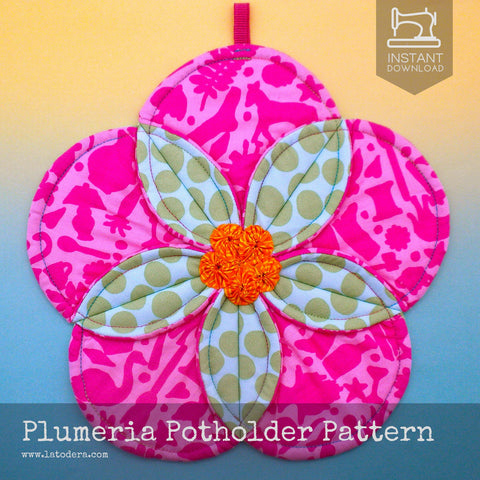 Plumeria Flower Quilted Potholder Pattern- Instant Download - La Todera