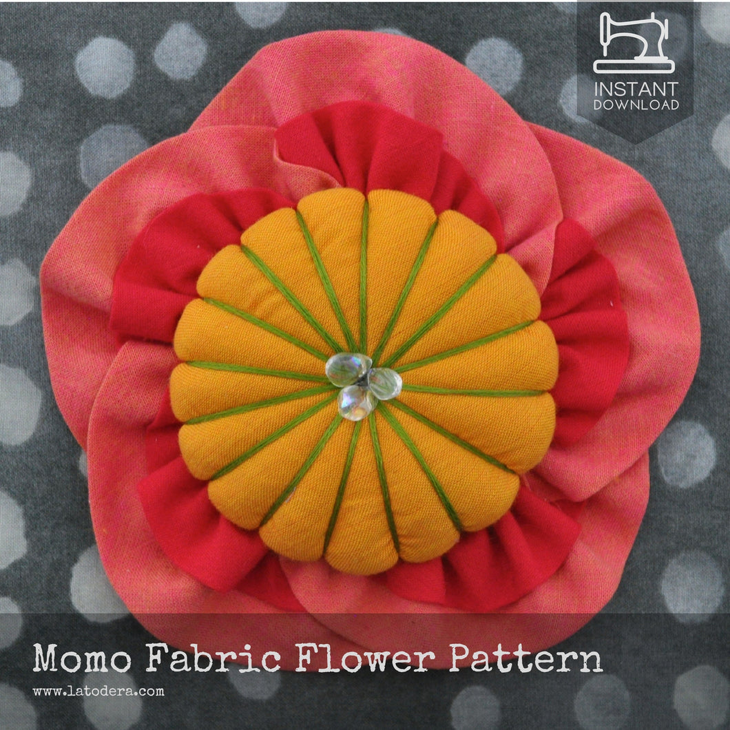 DIY Japanese Fabric Peach Flower Brooch Tutorial - PDF Sewing Pattern - La Todera