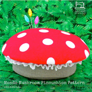 DIY Fabric Mushroom Pincushion Tutorial - PDF Sewing Pattern - La Todera