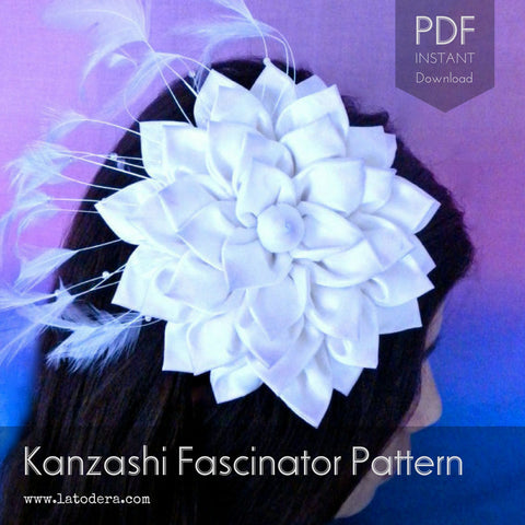 Kanzashi Flower Fascinator Pattern- Instant Download - La Todera