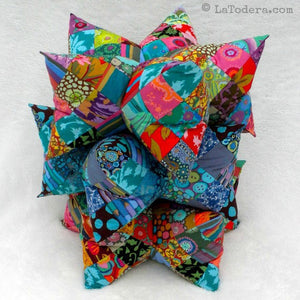 Harlequin Star Pillow and Pincushion pattern by La Todera, 3D star pillows