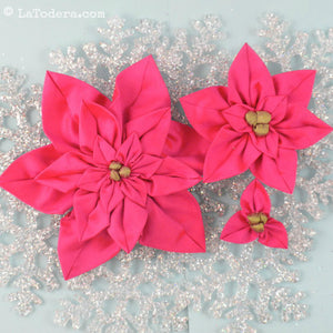 DIY Fabric Flower Poinsettia Brooch Tutorial - PDF Sewing Pattern - La Todera