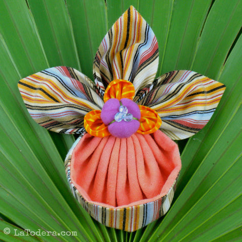 Fabric Flower Slipper Orchid