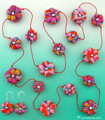 Succulent fabric bead Necklace Pattern - La Todera