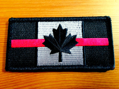Thin Red Line Canadian Flag Patch (2 sizes)