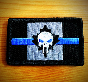 "Limited Edition Thin Blue Line Canadian Flag ""Punisher"" Patch"