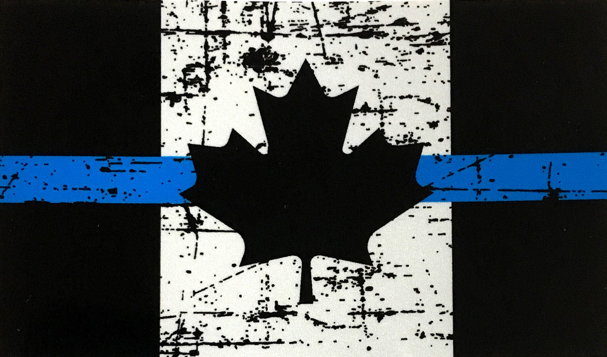 Tattered Distressed Thin Blue Line Canada Flag Decal
