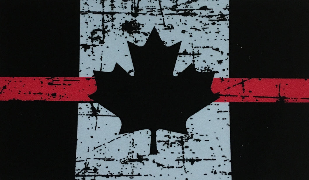 TATTERED THIN BLUE LINE CANADA FLAG DECAL/STICKER