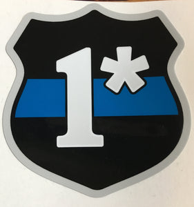 "3"" 1* Asterisk Thin Blue Line Badge Police Officer Sticker Decal"