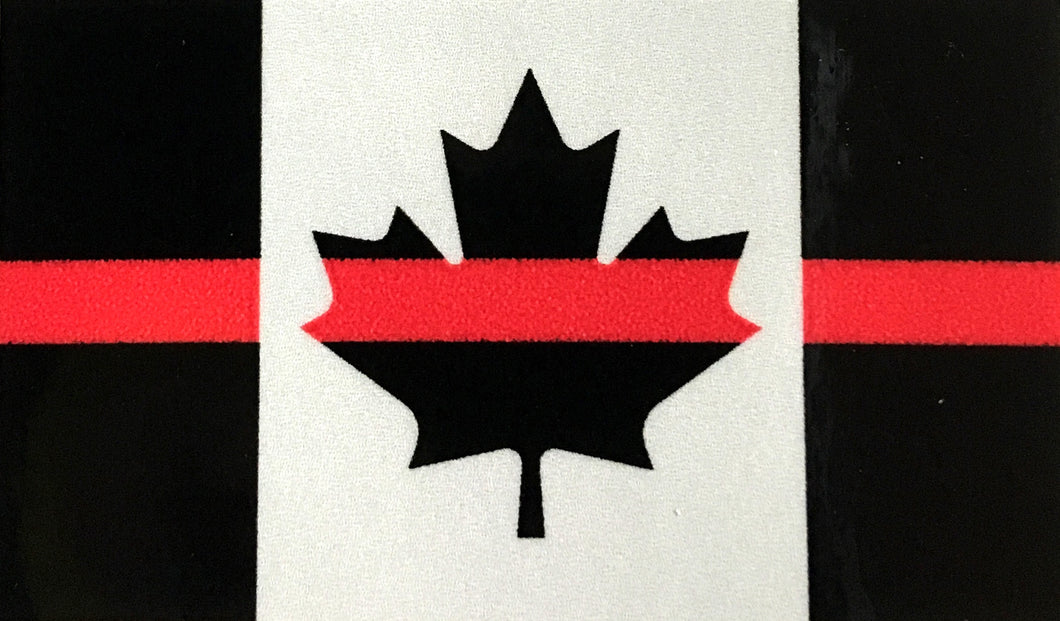 THIN RED LINE SUBDUED CANADA FLAG DECAL (2 sizes)