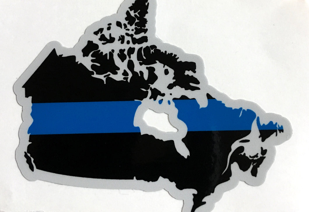 Thin Blue Line Canada Decal/Sticker Country Outline