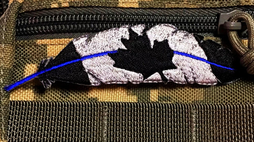 Thin Blue Line Canadian Flag Feather Patch