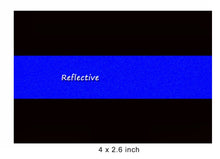 "Load image into Gallery viewer, Reflective Police Thin Blue Line Bumper Decals (4"" x 2.6"")"