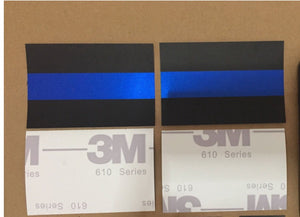 "Reflective Thin Blue Line License Plate Sticker (1.5"" x 1"")"