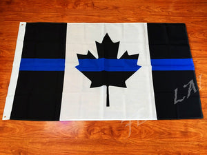 Full Size 5' x 3 ' Thin Blue Line Canadian Flag with FREE Desk / Handheld Flag (for a limited time)