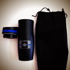 Thin Blue Line Distressed Canadian Flag 14 oz Persona® Wave Vacuum Tumbler / Travel Mug