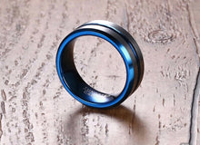 Load image into Gallery viewer, New Thin Thin Blue Line Tungsten 8mm Tungsten Carbide Ring