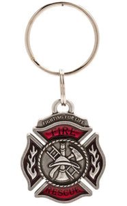 Firefighter/ Rescue Keyring - Pewter - Key Fob