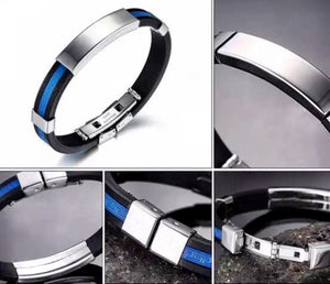 Thin Blue Line Stainless Steel Silicone Bracelet
