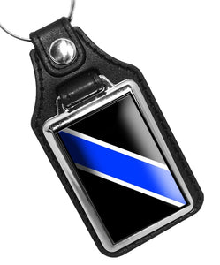 THIN BLUE LINE POLICE SHERIFF FAUX LEATHER KEY RING
