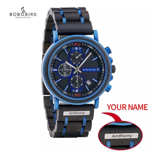 Thin Blue Line Inspired BOBO BIRD Men's Wooden Watch  with engraved Name or Badge # (FREE Shipping)