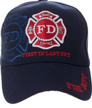 Load image into Gallery viewer, Fire Department First in Last Out embroidered Hat / Cap
