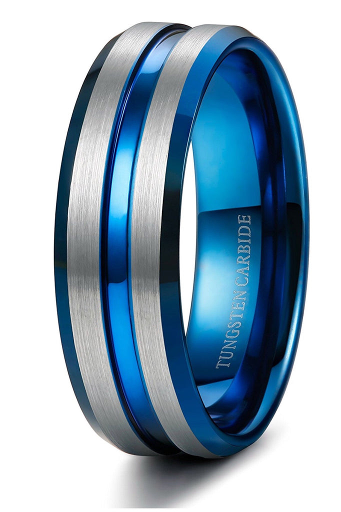 Thin Blue Line 8mm Tungsten Ring For Men Blue Grooved
