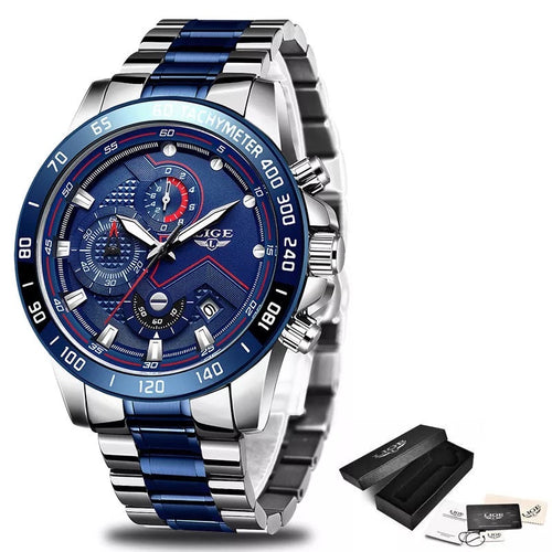 LIGE Chronograph Quartz Waterproof Blue Watch with Thin Blue Line Stainless Steel Strap