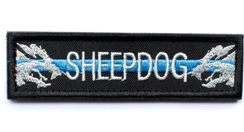 Sheepdog Thin Blue Line Tactical Morale Patch with Velcro backing