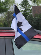 "Load image into Gallery viewer, Save with our 2 Pack 18"" x 11.5 "" Thin Blue Line Canada Motorcycle / Boat / Vehicle Flag with Mounting Pole"