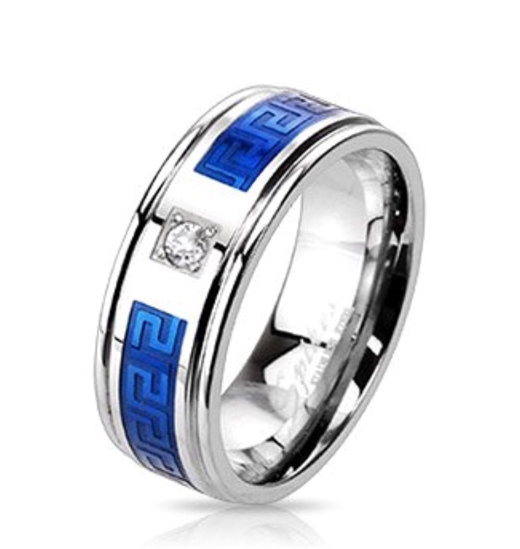 Thin Blue Line Stainless Steel Duo Tone Blue IP Round CZ Centered Maze Inlay Band Ring