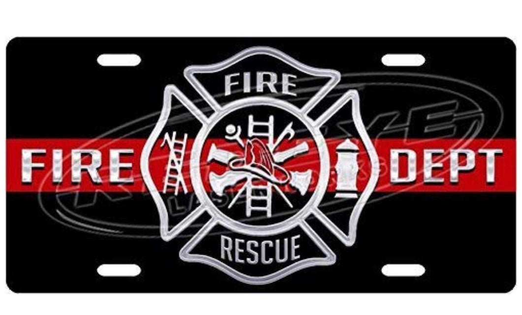 Black Firefighter Aluminum License Plate