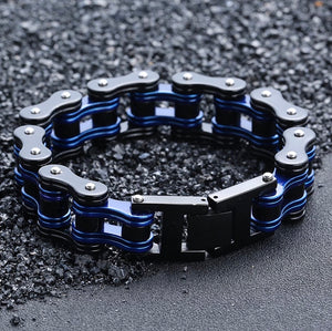 Thin Blue Line Men's Stainless Steel Biker Link Chain Wristband Motorcycle Bangle 8.5 inch