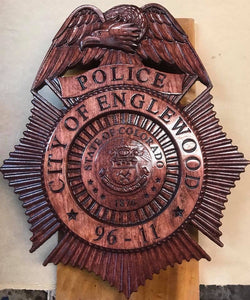 "22"" First Responders Badge / Emblem / Crest Carved out of Wood"